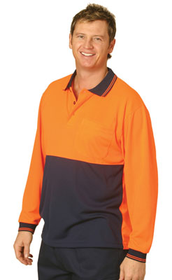 Branded Hi Vis Cooldry Micro-mesh Long Sleeve Safety Polo
