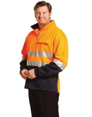 Branded Hi Vis Two Tone Cotton Fleecy Sweat with 3m Reflective Tapes