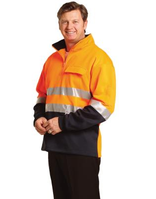 Hi Vis Two Tone Cotton Fleecy Sweat With 3m Reflective Tapes