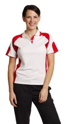 Branded Ladies' Cooldry Contrast Polo With Sleeve Panels