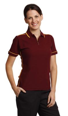 Ladies' Mini-waffle Contrast Piping Polo