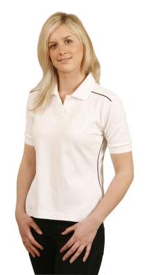 Branded Ladies' Pure Cotton Contrast Piping Short Sleeve Polo