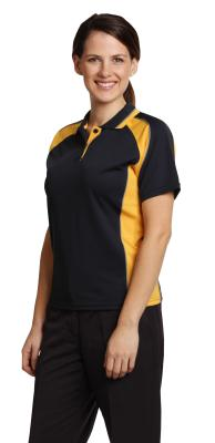 Branded Ladies's Cooldry Mini Waffle Short Sleeve Contrast Polo Sydney