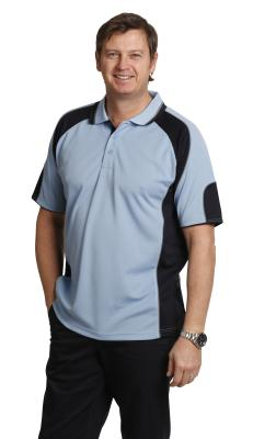 Branded Men's Cooldry Contrast Polo With Sleeve Panels