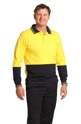 Branded Men's Cotton Jersey Two Tone Long Sleeve Safety Polo