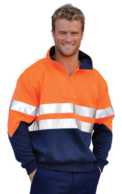 Branded Men's Hi Vis Long Sleeve Fleecy Sweat with Collar and 3m Tape