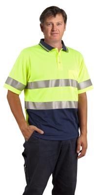 Branded Men's Hi Vis Short Sleeve Polo With 3m Tapes