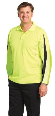 Branded Men's Truedry Hi-vis Legend Long Sleeve Polo With Reflective Piping