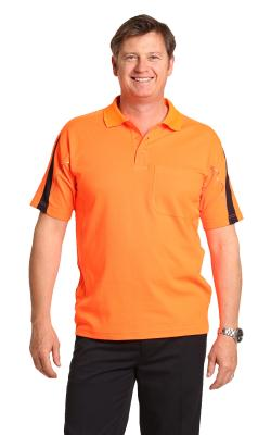 Branded Men's Truedry Hi-vis Legend Short Sleeve Polo With Reflective Piping