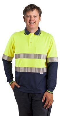 Branded l Men's Truedry Safety Long Sleeves Polo With 3m Reflective Tape
